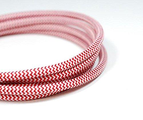 Vintage Tissu d'éclairage câble | Rouge et blanc | 3 Core