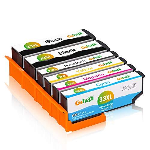 Gohepi 33XL Compatibile per Cartucce Epson 33XL 33 per Epson XP-640 XP-530 XP-830 XP-645 XP-540 XP-900 XP-630 XP-635 XP-7100,2 Nero/1 Foto Nero/1 Ciano/1 Magenta/1 Giallo - Confezione da 6