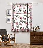Gaddrt Römischer Vorhang Rod Liftable Kitchen Badezimmer Fenster Römischer Vorhang Floral Sheer Voile Valances 60 x 120cm,80 x 120 cm (M)