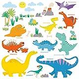 DECOWALL DS-8008 Dinosaure coloré Autocollants Muraux Mural Stickers Chambre Enfants Bébé Garderie Salon(Ver anglais) (Petit)