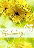 Einladungskarten 65. Geburtstag Frau Mann mit Innentext Motiv gelbe Blumen 10 Klappkarten DIN A6 im Hochformat mit weißen Umschlägen im Set Geburtstagskarten Einladung 65 Geburtstag Mann Frau K137
