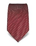 Vincenzo Boretti Herren Krawatte reine Seide gestreift edel Männer-Design gebunden zum Hemd mit Anzug für Business Hochzeit 8 cm schmal/breit weinrot