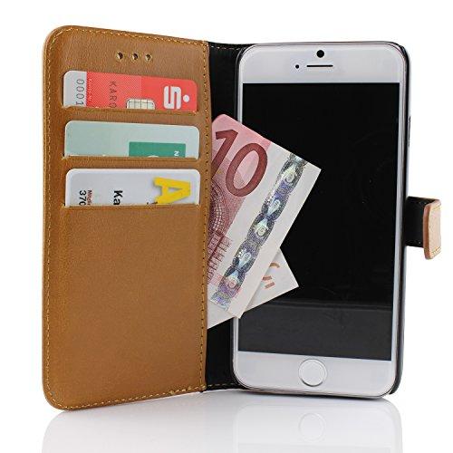 Apple iPhone 6 Plus Handyhülle von Original Urcover® in der Retro Wallet iPhone 6 Plus (5.5 Zoll) Schutzhülle Case Cover Etui Grau Hell Braun