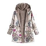 iHENGH Damen Winter Warm Dicker Jacke Outwear Blumendruck Parka Mantel mit Kapuze Taschen Vintage Oversize Coats(Pink,EU-56/CN-5XL)
