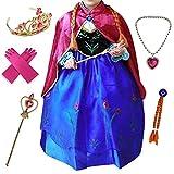 Anbelarui® Mädchen Prinzessin Kleid Weihnachten Verkleidung Karneval Party Halloween Fest Kostüm Set aus Diadem,Handschuhe, Zauberstab, Halskette (92-98 (Etikett:100), Lila)