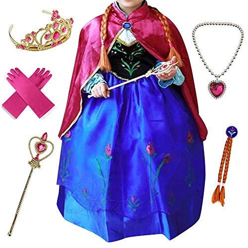 (Anbelarui® Mädchen Prinzessin Kleid Weihnachten Verkleidung Karneval Party Halloween Fest Kostüm Set aus Diadem,Handschuhe, Zauberstab, Halskette (110-116 (Etikett:120), Lila))