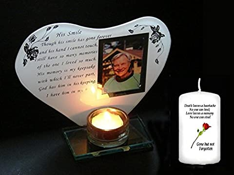 Glass Memorial Tea light Frame , Unique In Memorial of Him Keepsake + Memorial Candle by Cellini