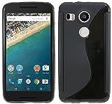 ENERGMiX Silikon Hülle kompatibel mit LG Google Nexus 5X Tasche Case Gummi Schutzhülle Zubehör in Schwarz
