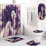 GLONG Duschvorhang-Set Toilettendeckel Badematte 5-teiliges Set,B,L
