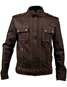 Leatherly Chaqueta de hombre Stone Wash Slim Fit Marrón Cuero Chaqueta Strap Collar
