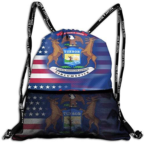Hipiyoled USA Michigan State Flag Bulk Drawstring Backpack Cinch Bag Sport Gym Sack for Traveling and Storage