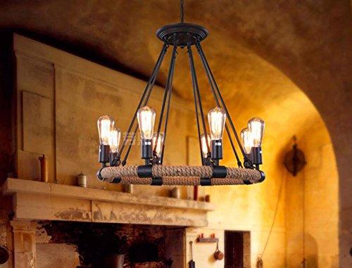 Suspensions LOFT rétro pendentifs de fer et de corde de chanvre pour Home Bar Cafe Balcony (ampoule E27), 8 Head
