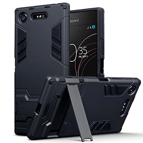 TERRAPIN, Kompatibel mit Sony Xperia XZ1 Hülle, Silikon + Polycarbonat Tasche mit Standfunktion - Schwarz