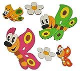 Unbekannt 6 tlg. Set Wandbild / Wandtattoo - bunte Schmetterlinge Blumen - HOLZ - selbstklebend - Kinderzimmer Deko Bilder Türschild Blume