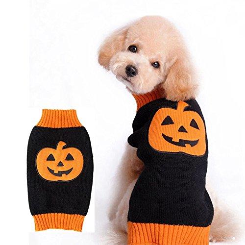 Halloween-Dekor-Haustier-Strickjacke-Kleidungs-Haustier-Mantel Halloween-Kürbiskostüm Haustier-Winter-Strickjacke-Mäntel Hundekleidung Winter-Hundekleidung Niedlich (Weiblichen Niedlich Kostüme Halloween Einfach)
