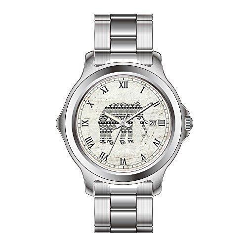 FDC-Navidad Regalo Relojes Fashion Fecha Acero Inoxidable Reloj de Pulsera de Cuarzo japonés de la Mujer Azteca Tribal Elefante Negro Blanco Vintage Madera Reloj de Pulsera