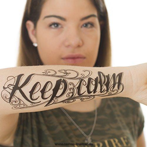 1 x Keep calm Tattoo Schriftzug in schwarz - Fake temporäres einmal Körpertattoo HB-064 (1)