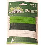 St. Patricks Day Good Luck Green And White Rubber Band Bracelets ~ Pack Of 6