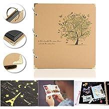 MOHOO Album di foto Vintage Book Photo Album 12 ICH Fai da te Retro Photo Album in pelle fatti a mano