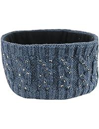 Mevina Damen Haarband elastisch Stirnband gestrickt Fleece-Futter Pailletten Zopf Strick