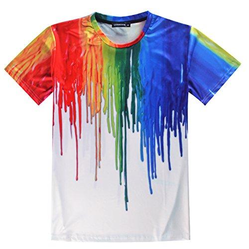 uideazone Unisex 3D-Druck Lustige Herren Kurzarm T-Shirts Bunt UK S-L Weiß12