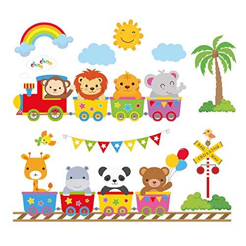 decalmile Stickers Muraux Animaux Train Autocollants Mural Palmier Éléphant Lion Singe Decoration Murale pour Chambre Enfants Bébé Pépinière