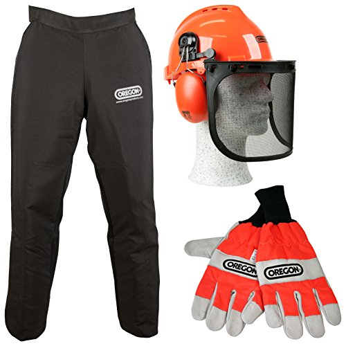 oregon-type-a-chainsaw-safety-clothing-kit-with-universal-leggings-seatless-trousers-gloves-and-helm