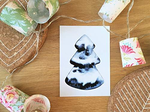 """Postkarte Weihnachten\""""Tannenbaum Aquarell\"""" Weihnachtskarte Grußkarte Karte schlicht Weihnachtsbaum"""