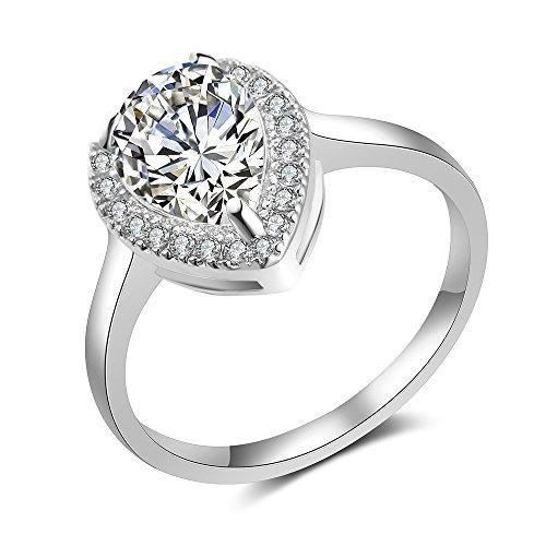 mytysun Dame Herren Luxus Verlobungsring Eheringe Damenring Solitärring Rhodiniert Zirkonia Versilbert wie Diamantring ...
