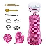 Leisuretime Kinder Kochen Spielset, Kinder Schürzen Küche Kochrolle Pretend Play Kostüm 11 Stück Spielset für Mädchen Geschenke (Pink)