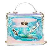 Umhängetasche Damen,Mode Einfache Transparente Laser Bunte Handtasche Kleine Quadratische Tasche...