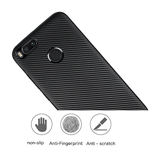 YHUISEN Xiaomi Mi5X Case, Slim Carbon Fiber Gummi Soft TPU Hybrid Shockproof Case Cover für Xiaomi Mi5X / Mi 5X ( Color : Silver ) Black