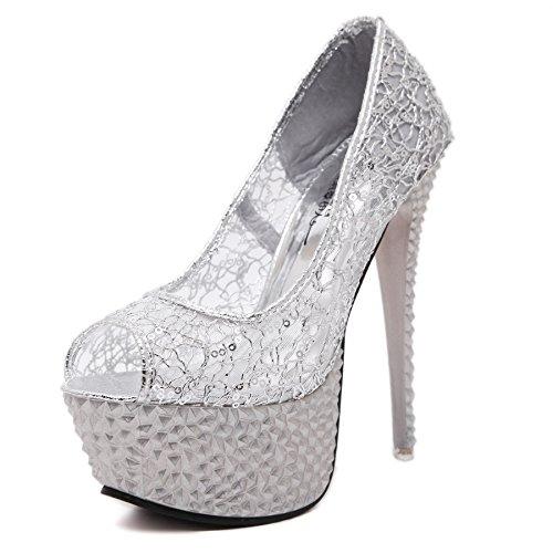 XiaoGao Zapatos de encaje vestido de noche de 15 cm de alto sandalias de tacon zapatos de boda,Plateado...