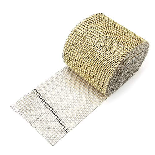 10 yard/rolle 24 Reihen Strass Silber Kunststoff Diamant Mesh Wrap Roll Band Dekoration(Gold) (Diamant Band Wrap)