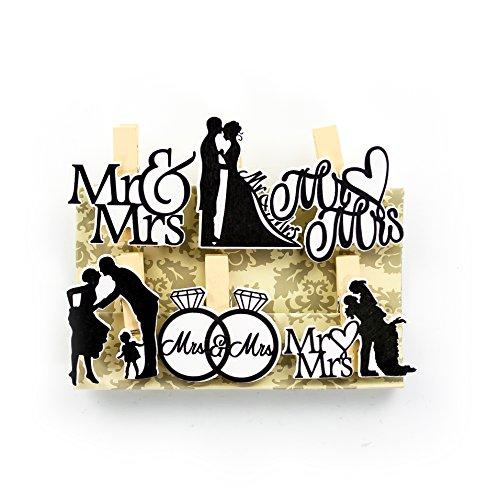 Oblique-Unique® Kleine Mini Holz Wäscheklammern Holzklammern Deko Klammern mit Motiv - wählbar (Hochzeit Mr & Mrs)