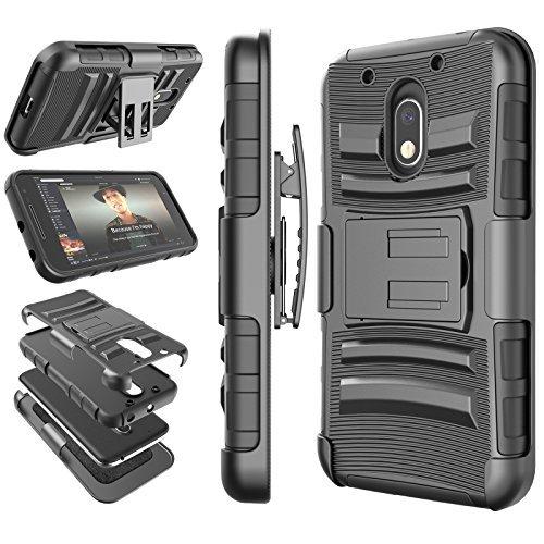 Moto G4Play Schutzhülle, Moto G4Play Gürtel, tekcoo [Hoplite Midi Serie], Locking Clip Defender Full Body Ständer, der Armor Fällen Cover für Motorola Moto G Play, schwarz (Phone G Moto Cricket)