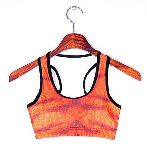 WKAIJCC Donna Sport Giubbotto Biancheria Intima Digitale Stampa Yoga Stagioni Correndo Nessun Acciaio B