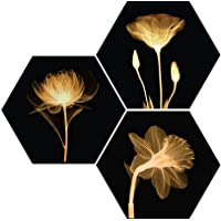 SAF Set of 3 Preety Brown Flower UV Textured MDF Home Decorative Gift Item Floral Painting 17 Inch X 17 Inch