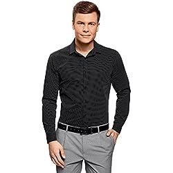 oodji Ultra Hombre Camisa Estampada de Silueta Ajustada, Negro, 40cm/ES 48/S