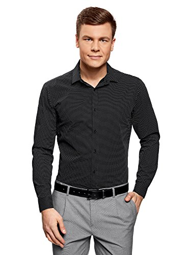 Oodji ultra uomo camicia stampata aderente, nero, 37cm / it 40 / eu 37 / xxs