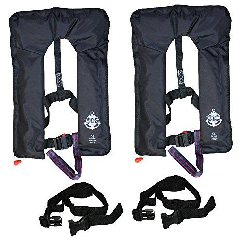 2 * Vollautomatische Rettungsweste mit Schrittgurt und Bergeschlaufe in schwarz