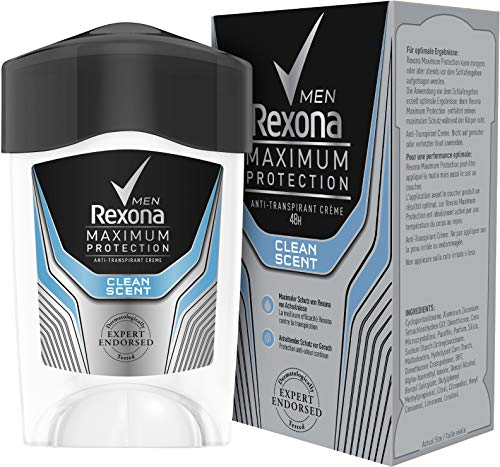 Rexona Men Deo Cremestick Maximum Protection Clean Scent Anti-Transpirant, 1er Pack (1 x 45 ml) - Pure Control Pflege