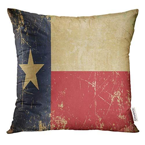 LVOE TTL Dekokissenbezug Roter Texas Grunge von Rusty Scratched Sepia Aged Texan Flag Vintage Dekorative Kissenbezug Home Decor Square Inches Kissenbezug - Pl Vintage Stuhl