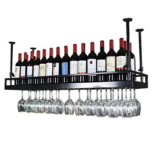 DJSMjbj Schwarzes Weinregal - Morden-Art-Eisen-hängendes Weinglas-Gestell-Decken-Dekorations-Regal für Bar, Restaurants, Küche oder Weinkeller (Size : 80cm)