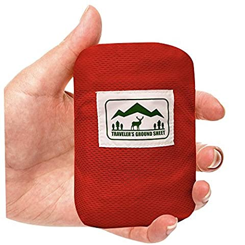 """Pocket Blanket"" (Traveler's Ground Sheet) for Hiking, Camping, Beach and Picnic - Water Resistant, Compact Storage Pouch, Weights 140 grams, Measures 1.9 x 1.27 meters …"