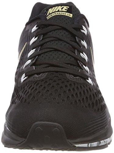 Nike Air Zoom Pegasus 34, Chaussures de Running Homme Noir (Noir/Anthracite/Blanc/Étoile Dor Métallique)