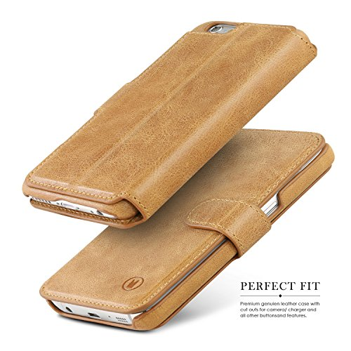 iPhone 6S Wallet Case, SAMON® Handmade Genuine Leather Luxury Flip Case, Classic Folio Case Book Design with Stand and 3 Card Slots Case, Magnetic Flap Closure Case Cover for iPhone 6 and iPhone 6S -B Brown