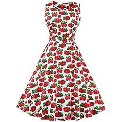 VKStar - Vestido - Noche - Sin Mangas - para Mujer Erdbeere M-36/38/40