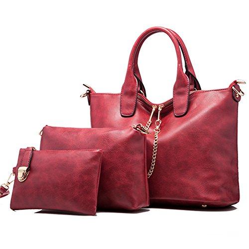 fanhappygo Fashion Retro Leder Damen Vielzweck Schulterbeutel Umhängetaschen Abendtaschen a set Rot