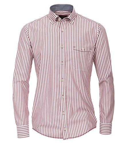 Michaelax-Fashion-Trade CASA Moda - Casual Fit - Streifen Herren Oxford Hemd mit Button-Down Kragen (462552000 A), Farbe:Rot (401), Gr??e:M (Blau Oxford-hemd Gestreiftes)